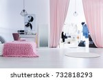 pink blanket on bed and soft... | Shutterstock . vector #732818293