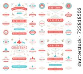 christmas labels and badges... | Shutterstock .eps vector #732818503