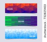 mosaic banners set. minimal... | Shutterstock .eps vector #732825403