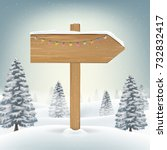 christmas direction wood board... | Shutterstock .eps vector #732832417