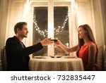 romantic dinner for a beautiful ... | Shutterstock . vector #732835447