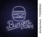 burger neon sign  bright... | Shutterstock .eps vector #732838063