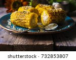 corn  baked on a grill dinner... | Shutterstock . vector #732853807