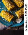 corn  baked on a grill dinner... | Shutterstock . vector #732853813