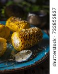 corn  baked on a grill dinner... | Shutterstock . vector #732853837