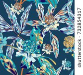 blue vintage vector pattern | Shutterstock .eps vector #732854317