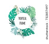 round tropical frame  template... | Shutterstock . vector #732857497