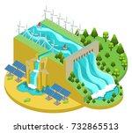 isometric alternative energy... | Shutterstock .eps vector #732865513