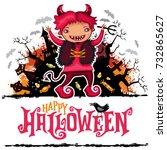 halloween vector card. teenage... | Shutterstock .eps vector #732865627