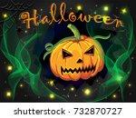 halloween night with pumpkin ... | Shutterstock . vector #732870727
