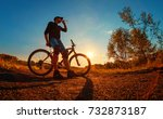 young athletic man in a black t ... | Shutterstock . vector #732873187