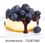 Cake with cream cheese and fresh blueberries - stock photo