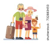 old people with grandson...   Shutterstock .eps vector #732883453