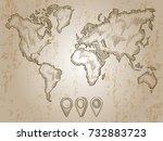 vintage hand drawn world map... | Shutterstock .eps vector #732883723