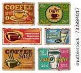 vintage coffee shop and cafe... | Shutterstock .eps vector #732884017