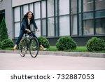 young happy businesswoman...   Shutterstock . vector #732887053