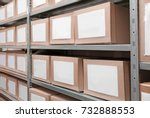 cardboard boxes with documents... | Shutterstock . vector #732888553