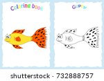 colorless funny cartoon guppy.... | Shutterstock .eps vector #732888757