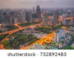 shanghai people's square and... | Shutterstock . vector #732892483