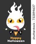 happy halloween.flying ghost... | Shutterstock .eps vector #732894637