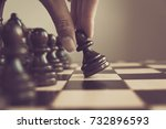 chess game  chess player makes... | Shutterstock . vector #732896593