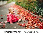 adorable little baby girl of 9... | Shutterstock . vector #732908173