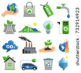 ecology icon set with elements... | Shutterstock .eps vector #732914923