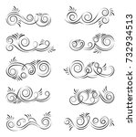 calligraphic design elements.... | Shutterstock .eps vector #732934513