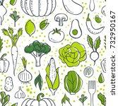 farm fresh vegetables seamless... | Shutterstock . vector #732950167
