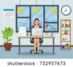 office workplace with table ... | Shutterstock .eps vector #732957673