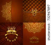 set of luxury ornate... | Shutterstock . vector #732967897
