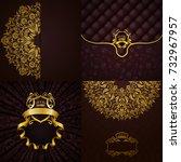 set of luxury ornate... | Shutterstock . vector #732967957