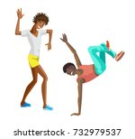 beautiful  sporting dancing... | Shutterstock .eps vector #732979537