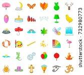 harmony icons set. cartoon... | Shutterstock .eps vector #732980773