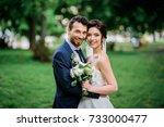 handsome groom and pretty bride ... | Shutterstock . vector #733000477