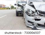 modern car accident involving... | Shutterstock . vector #733006537