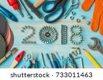 happy new year 2018 composition ... | Shutterstock . vector #733011463