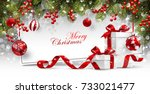 christmas card with gifts | Shutterstock .eps vector #733021477
