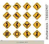 yellow traffic sign vector set | Shutterstock .eps vector #733032907