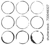 a set of vector grunge circles... | Shutterstock .eps vector #733048327