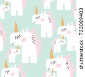cute seamless pattern with... | Shutterstock .eps vector #733089403
