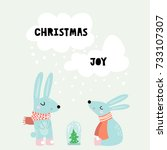 cute winter greeting background ... | Shutterstock .eps vector #733107307