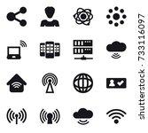 16 vector icon set   share ... | Shutterstock .eps vector #733116097