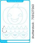 pumpkin. preschool worksheet... | Shutterstock .eps vector #733127263