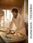 in an artisan bakery  the baker ... | Shutterstock . vector #733136863