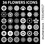 flowers flat icon set vector | Shutterstock .eps vector #733140517