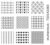 set of seamless vector patterns.... | Shutterstock .eps vector #733142383