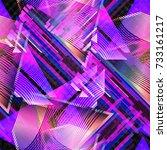 retrofuturistic seamless... | Shutterstock . vector #733161217