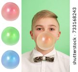 boy blowing a bubblegum bubble... | Shutterstock . vector #733168243
