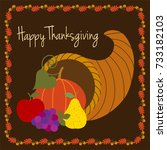 happy thanksgiving with... | Shutterstock .eps vector #733182103